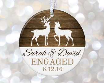 Newly Engaged Gift, Christmas Engagement Ornament, Just Engaged Gift, She Said Yes, Personalized Ornament Gift for Engagement Party Gift