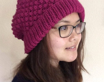 Blackberry Ribbed Slouchy Hat