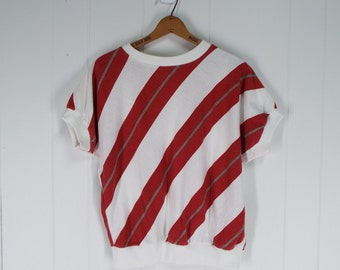 Vintage Womens 1980s Red and White Striped T-Shirt | Size M, M/L