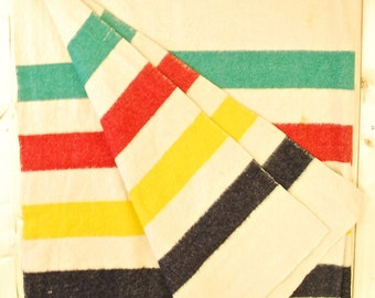 Vintage 1950's/60's HUDSON'S BAY BLANKET / Made In England / Retro Collectable Rare