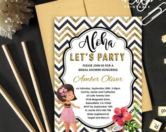 Hawaiian Girl Bridal Shower Invitation | 5x7 | Editable PDF | Instant Download | Personalize at home with Adobe Reader