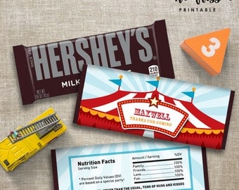 Carnival Candy Bar Label | Hershey Chocolate Wrappers | Editable | Printable | Instant Download
