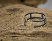 Silver and Gold Ring Circular Geometric