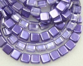 2 Hole Tiles, Czechmates, Lavender, 6mm, 25 Beads