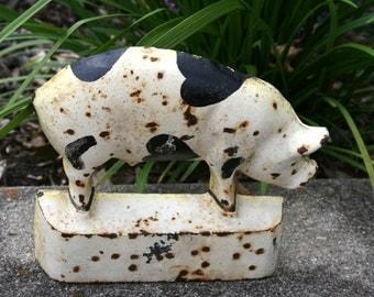 Hubley Cast Iron Pig Doorstop//Marked Hubley//Black and White Pig//Bookend//Vintage Doorstop
