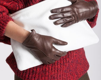 Italian Handmade Women's Leather Gloves Dress Gloves Winter Gloves Italian Leather Gloves Fashionable Gloves