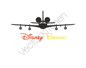 Disney Bound Mickey Inspired Airplane Cutting Template SVG EPS Silhouette Cricut Sure Cuts A Lot Vector Instant Download, Jet, Plane, Travel