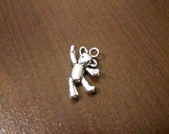 5 pcs - 20mm Antique Silver Teddy Bear Charm - Small Bear Charm - Jewelry Making Supplies - Bracelet - Necklace - Key Chain B11