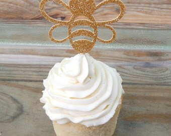 12 x Gold Glitter Bee Cupcake Toppers. Bee Cupcake Toppers. Baby Shower. What will it Bee. Baby Shower Decorations. Bee Toppers. Gold Bee