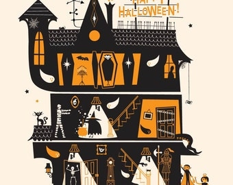 "Halloween Art, Fall Decor, Halloween, ""Haunted House"""