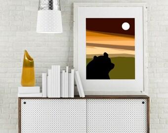 "Modern Wall Art, Mid Century Art Print, Abstract Print, Moon Art, Bear Art, Wildlife Art, Dusk, kids Art, Colorful Art, ""Same Moon Bear"""