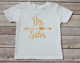 big sister - big sister shirt - pregnancy announcement - toddler shirt - baby shirt - personalized shirt - custom shirt - gold lettering