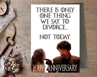 Game of Thrones Anniversary Card, Printable, Husband, Wife, Happy Anniversary, Boyfriend, GoT, Not Today, Instant Download