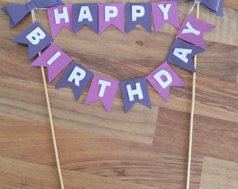 Happy Birthday Cake Bunting, Purple Cake Bunting,  Bow cake topper, Cake Flags, Cake Topper, Birthday cake Topper
