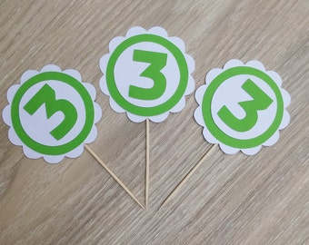Age scalloped Cupcake toppers, 12 Number Cupcake Toppers , green and white, custom, add your age, birthday party, birthday topper
