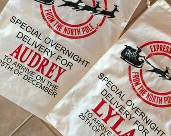 Personalized Santa Sack, Santa Bags, Christmas Gift Bag, Christmas Bag, Christmas Stocking, Christmas Tote, Personalized Christmas Bag