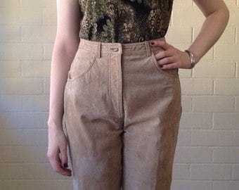 SALE! Vintage 90s suede pants - beige tan - leather pants - high waist - tapered leg - 90s pants - genuine leather
