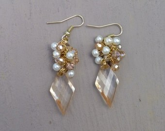 Crystal Glass Beaded Dangle Earrings
