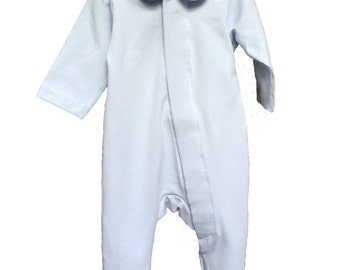 Pale Blue Sleepsuit with Magnet Fasteners and Peter Pan Collars