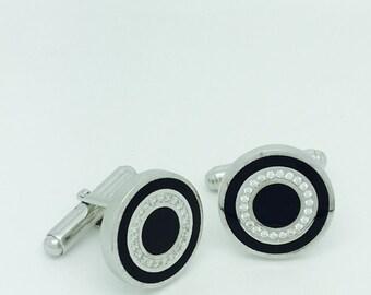 Silver Cufflinks Designed with Cubic Zirconia Stones