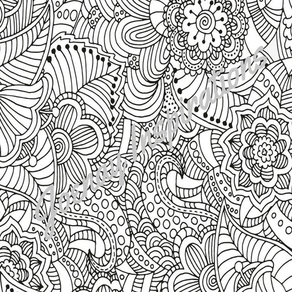 Adult Coloring Book, Printable Coloring Pages, Coloring Pages, Coloring Book for Adults, Instant Download, Fancy Flowers 2 page 1