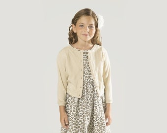 """Cardigan Sweater for Girls Sizes 2 to Years -- The """"Mimi"""" Buttoned-Down Cardigan in Ecru"""