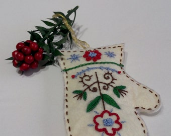 Christmas felt GLOVE ornament.