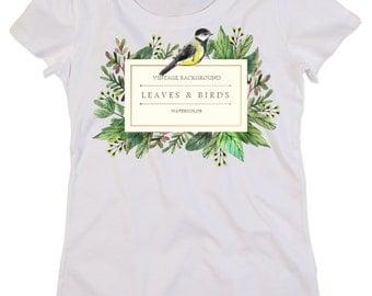Custom organic cotton crew neck t-shirt Woman LEAVES & BIRD