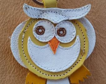 Leather handmade key chain OWL