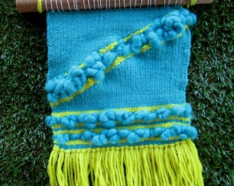 Teal & Yellow - woven wall hanging