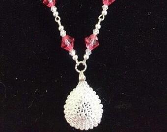 swarovski and silver necklace