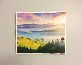 Purple mountains wooden wall decor