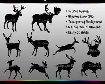 Deer Silhouettes (34 Images! - Bambi Silhouette Included!)