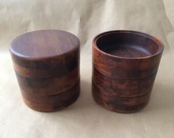 60-70s Wooden teak salad bowls, stacking, hand-crafted Denmark