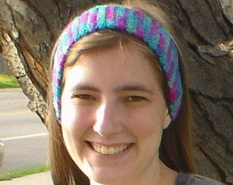 Crochet headband, rainbow headband, adjustable headband, multicolored headband