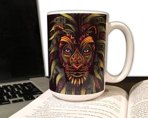 Lion Coffee Mug - Animal Coffee Mug - 15oz. Mug - Caesar - Tribal Art - Drawing - Colored Pencils