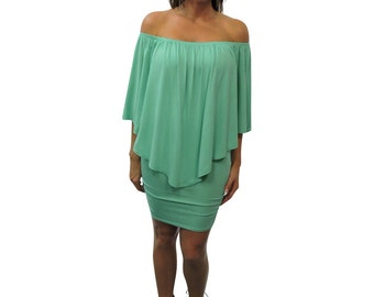 Seafoam Green Off Shoulder Mini Dress