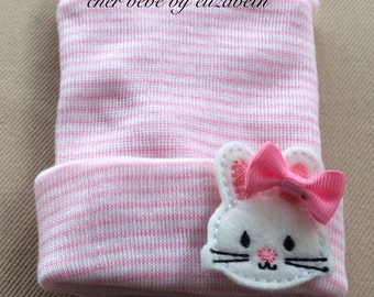 Bunny Spring Newborn beanie with pink bow, pink striped hospital hat with an Easter bunny, keepsake, Newborn, Hospital Hat
