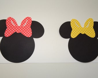 "2""- 7"" Minnie Mouse Head Cut-Outs with Bows"