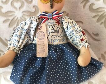 Patriotic Owl Doll, Primitive Dolls, Whimsical Doll, Owl Decor, Home Decor, Colorful Art Doll, Dolls Handmade, Folk Art, OOAK art Dolls
