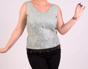 Vintage Pale Blue Sequin beaded wool 60s shell top