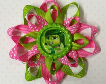 READY TO SHIP-Inside Out Disgust Bow-Disgust Hair Bow-Inside Out Bow-Disney Hair Bow-Boutique Hair Bow-Pixar Hair Bow-Loopy Bow