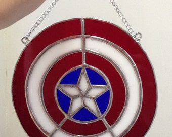 Captain America's Shield Superhero logo in Stained Glass