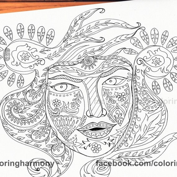face coloring pages adults - photo#14