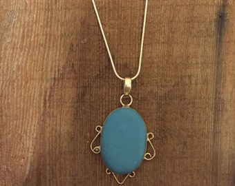 Turquoise Pendant on Sterling Silver Chain