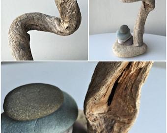 Driftwood Decor/ Beach Stone Cairn / Zen Stones/ Zen Decor/ Rock Stack/ Zen Meditation/ Natural Beach Stone Stack/ Coastal Decor