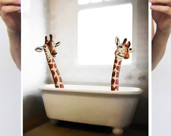 Giraffe Poster, Giraffe print from my original painting, giraffe decor, Giraffe in bathtub, original creation by Coco de Paris