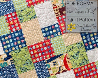 Fat Quarter Quilt Pattern, Vice Versa Baby Quilt Pattern, Lap Quilt Pattern, Beginner Quilt Pattern, Easy Quilt Pattern, PDF Quilt Pattern