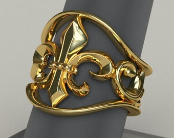 Fleur De Lis  Ring - Any Size 18k Gold Plated