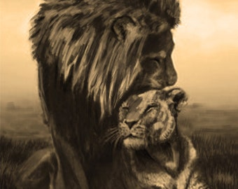 King and Queen // Lions // Sepia // Old fashion painting // Nature art // Print